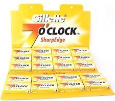 30 x GILLETTE 7'O CLOCK YELLOW SHARP EDGE DOUBLE EDGE DISPOSABLE SHAVING BLADES