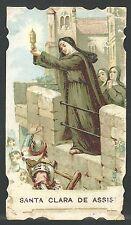 Estampa antigua de Santa Clara andachtsbild santino holy card santini