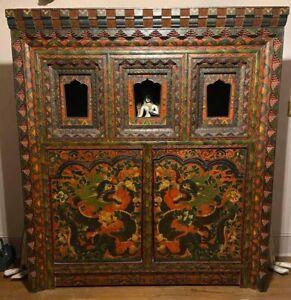 Large Tibetan Style Chosham Shrine Cabinet Vintage