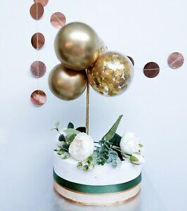 Mini Confetti Balloon Cake Topper Arch Garland Birthday Party Decor Chrome Gold