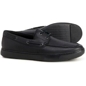 FITFLOP LAWRENCE BOAT SHOES NEW MEN'S SIZE 13 BLACK LEATHER LOAFER MOCCASIN