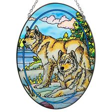 """""""Watchful Pause"""" Wolf Suncatcher Hand Painted Glass By Amia Studios 8.75"""" x 6.5"""""""