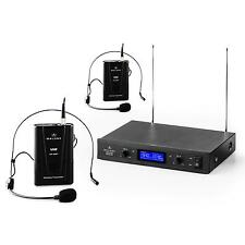 Funkmikrofon Wireless Microphone Mikrofon Set VHF Headset Duo 2 Kanal 50m LED
