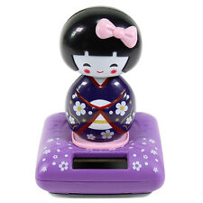 Solar Power TOY - Purple Kimono Cute Geisha Japanese Girl Car Gift Home Decor