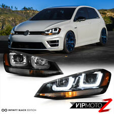 2015-2017 Golf GTI SportWagen Black Dual LED Neon Tube Projector Headlights PAIR