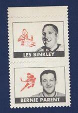 1969-70 opc Stamps Bernie Parent & Les Binkley *Attached* Philadelphia Flyers !!