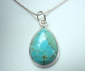 Basic Turquoise Teardrop 925 Sterling Silver Necklace