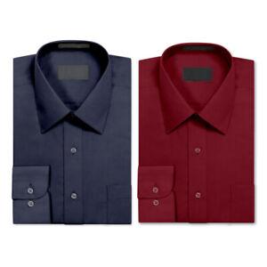 2 Pack Men's Berlioni Long Sleeve Button Up Regular Dress Shirt Burgundy - Navy