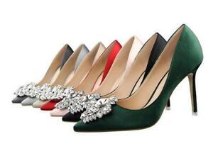Women Slim High Heels Rhinestone Pointed Toe Pumps Stiletto Shoe Wedding Shoes D