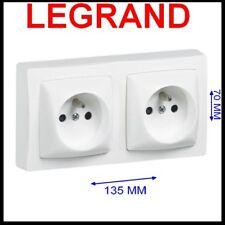 Double prise de courant 2P + T appareillage saillie complet blanc- Legrand