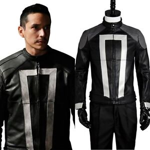Agents of S.H.I.E.L.D Shield Ghost Rider Top Jacket Cosplay Costume Outfit Suit