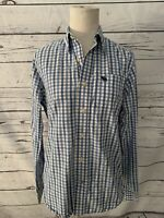 Abercrombie Boys Button Up Long Sleeve Shirt Sz XL Blue Plaid Gingham Collared
