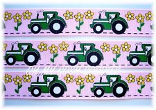 7/8 Oh My Big Green Sexy Tractor Grosgrain Ribbon 4 Bow Scrapbooking Pink 5Yd