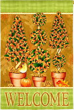 NEW LARGE EVERGREEN HOUSE FLAG FALL IS HERE AUTUMN TOPIARY WELCOME FLAG  29 X 43