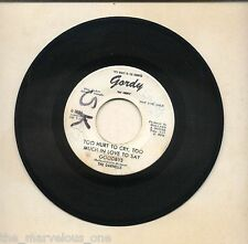 """THE MARVELETTES (The Darnells)~""""TOO HURT TO CRY...""""RARE GORDY WHITE """"PROMO""""~45!!"""