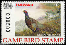 HAWAII #13A 2008 STATE DUCK STAMP GAME BIRD GREEN PHEASANT by Daniel Wang