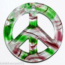 GLASS LAMPWORK PENDANT CHARM PEACE SIGN WHITE BURGUNDY GREEN SWIRLS CG30