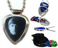 John Lennon BEATLES pick + PICKBAY Guitar Pick holder Pendant Necklace Set NEW