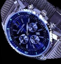 Excellanc Herren Mesh Armband Männer Uhr Blau Datum Edelstahl SI-BL4