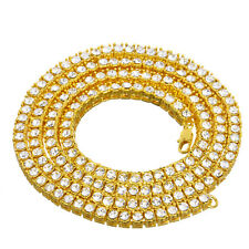 """Men's Women's Fashion Icy 4 mm 16"""" Short Gold Plated Stone Tennis Chain Necklace"""