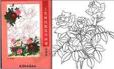 Chinese Rose Flower Painting Outline Tattoo Flash Reference PDF Book File on CD