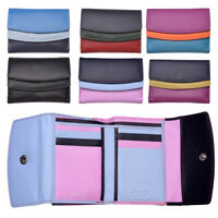 Ladies Womens Multi Colour RFID Blocking Genuine Leather Purse Blue Purple Black