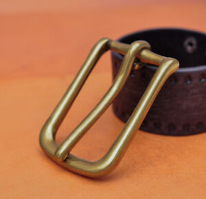 Solid Brass Long Big Heavy Single Prong Pin Leather Belt Buckle fits 40mm Strap