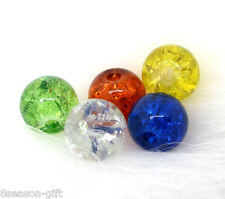 200PCs Gift Mixed Crackle Glass Round Beads 6mm Dia.Findings