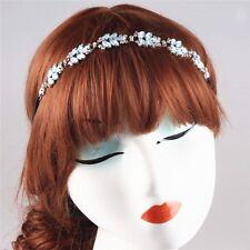 Vintage Sparkle Blue Leaves  Rhinestone Headband Wedding Party Bridal Hairpiece
