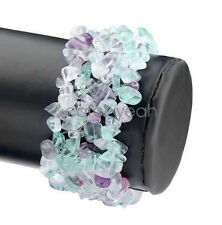 Natural Fluorite Chips Thick Bracelet Coloful Crushed Stone Beaded Woven Bangle