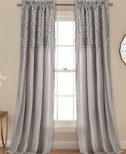 Lush Decor Bayview Gray Curtain Panels PAIR New 84L
