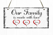 Personalised Plaque Family Hearts Made with Love Gift Sign Present Mother's Day