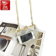 Transparent PVC Purse Gold Color Clasp Shoulder Bag Clear Vinyl with Chain Strap