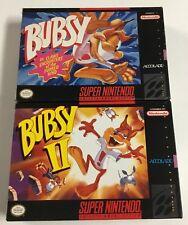 Bubby 1 + 2 Super Nintendo SNES CIB 100% Complete Ex-Nr Mint Lot