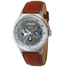 Dolce & Gabbana D&G DW0210 Codename Mens Brown Leather Strap Watch