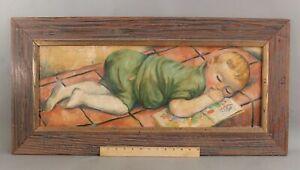 Original FREDERICK BUCHHOLZ Post-Impressionist Oil Painting, Sleeping Baby NR
