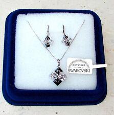 Collana e Orecchini da donna oro bianco 18K zirconi cristalli swarovski veri SW3