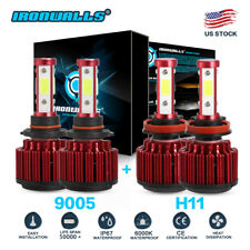 4-sides Kit H11 9005 6000K Led 3600W 540000Lm Combo Set Headlight High Low Beam