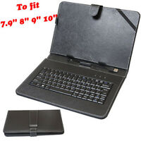 "Universal USB Keyboard Folio Leather Case Stand Cover For 7.9"" 8"" 9"" 10"" Tablet"