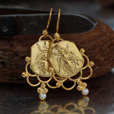 925 Sterling Silver Bee Coin W/ Topaz Earrings Handcrafted Turkish Fine Jewelry