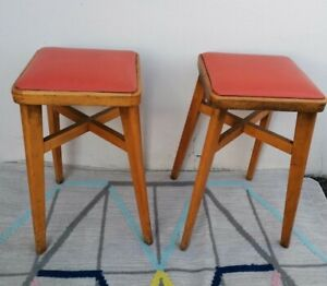 Vintage kitchen Stools seats pair original mid century vinyl cover for upcycling