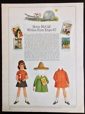 Vintage Betsy McCall Mag. Paper Doll, Betsy McCall Writes from Expo 67, Aug 1967