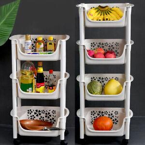 3/4 Tier Stacking Kitchen Trolley Vegetable Fruit Cart with Basket Storage Shelf