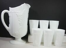 Colony Harvest Milk Glass 40 oz Pitcher Ice Lip Juice Glasses Grapes Leaves