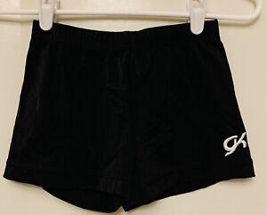GK Elite Adult Medium M AM Gymnastics Dance Fitted SHORTS cheer Black Nylon