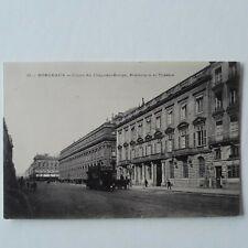 Postcard Bordeaux Cours du Chapeau-Rouge Prefecture et Theatre France Postcard