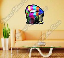 "Sensual Lips Abstract Rainbow Paint Wall Sticker Room Interior Decor 22""X22"""