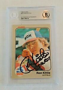1983 Fleer Rookie Card #241 Ron Kittle Sox RC Autographed Signed Beckett Slabbed