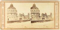 Italia Pisa Duomo Battistero Campanile Foto G.Sommer, Stereo Albumina Ca 1865