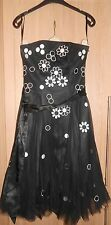 Teatro Black & White Floral Fitted Bust Cocktail Evening Dress size 10